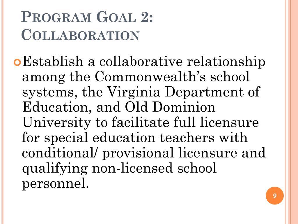 Program Goal 2: