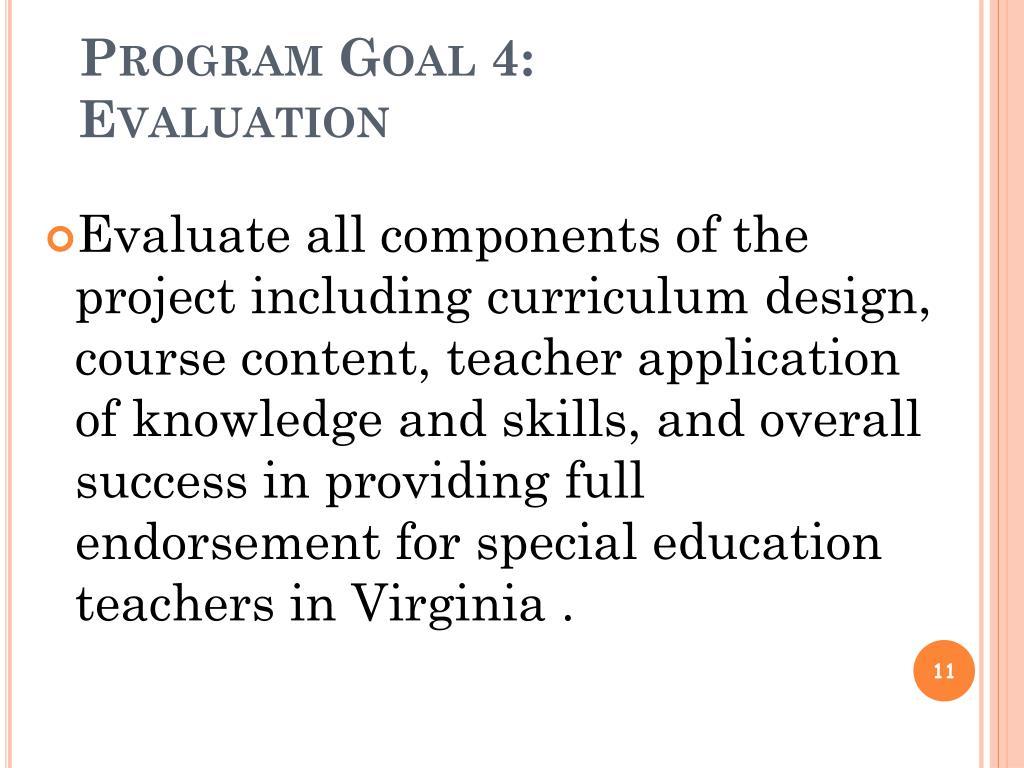 Program Goal 4: