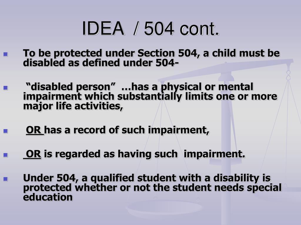 IDEA  / 504 cont.