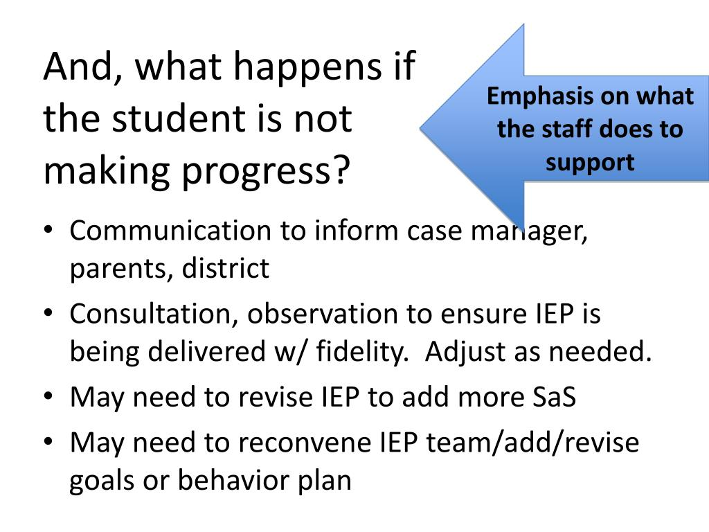 And, what happens if the student is not making progress?