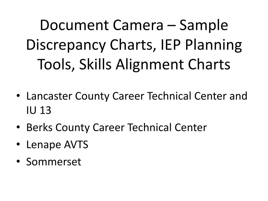 Document Camera – Sample Discrepancy Charts, IEP Planning Tools, Skills Alignment Charts