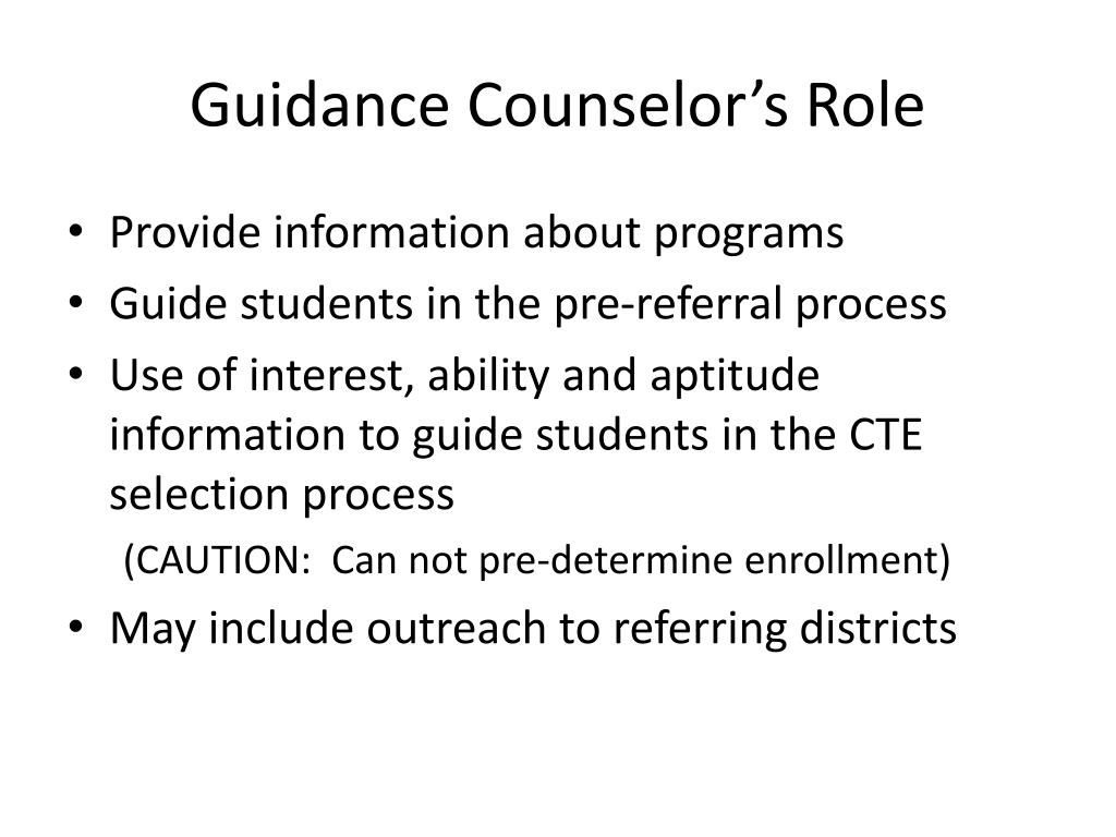 Guidance Counselor's Role