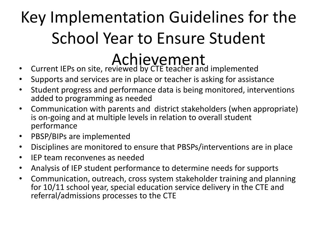 Key Implementation Guidelines for the School Year to Ensure Student Achievement