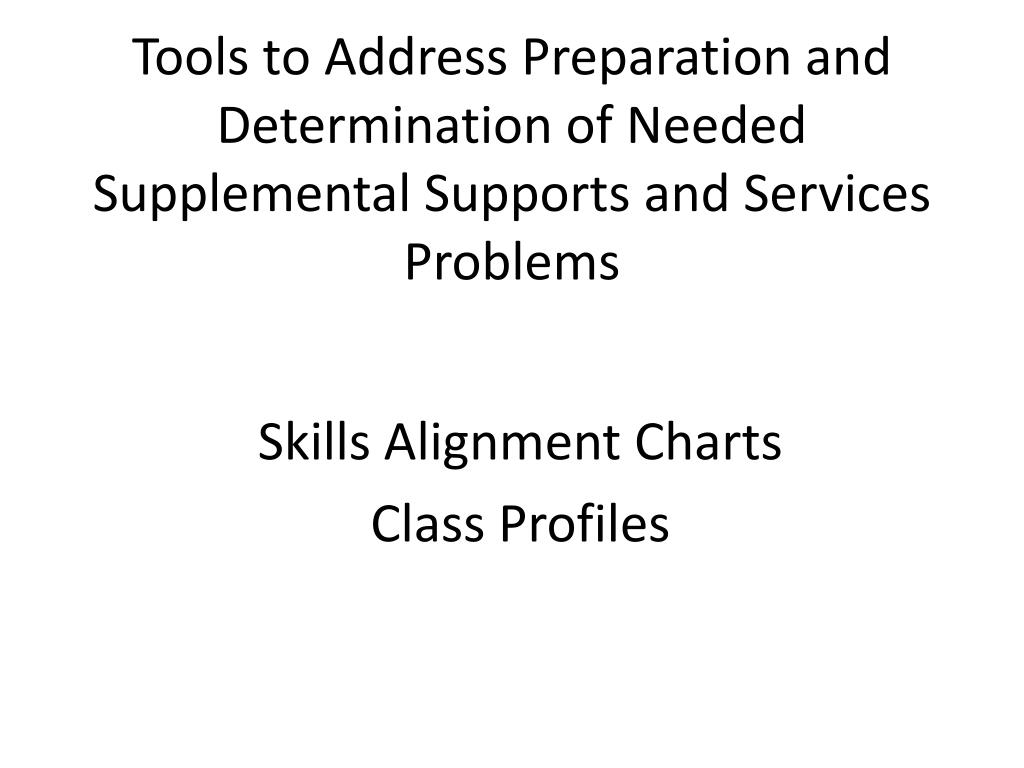 Tools to Address Preparation and Determination of Needed Supplemental Supports and Services Problems