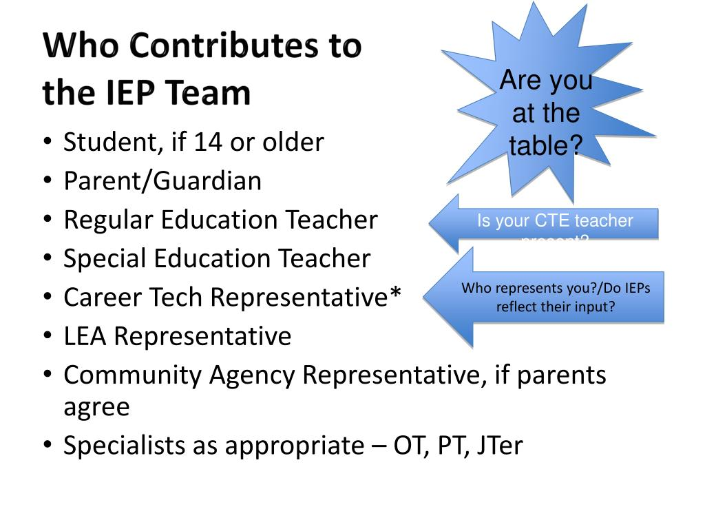 Who Contributes to the IEP