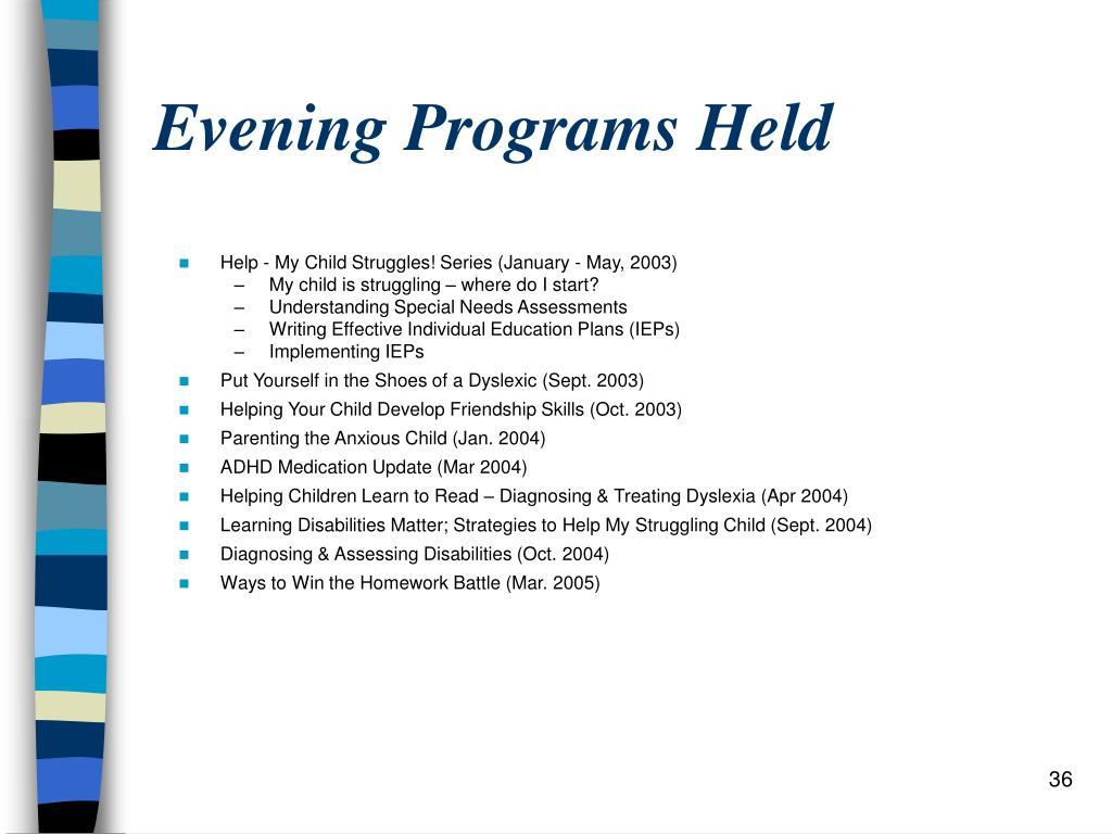 Evening Programs Held