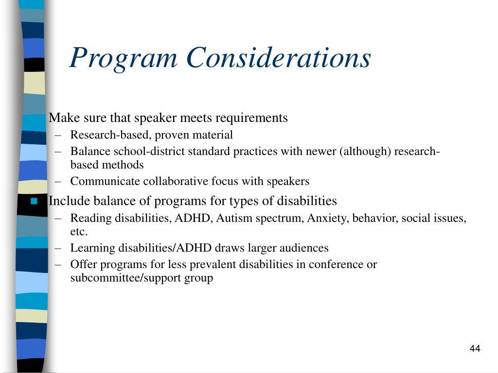 Program Considerations