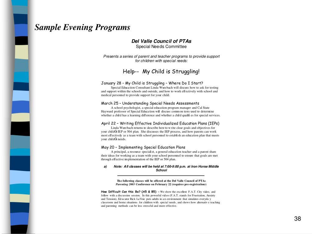 Sample Evening Programs