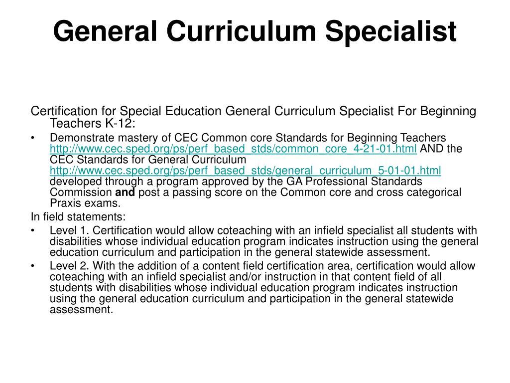 General Curriculum Specialist