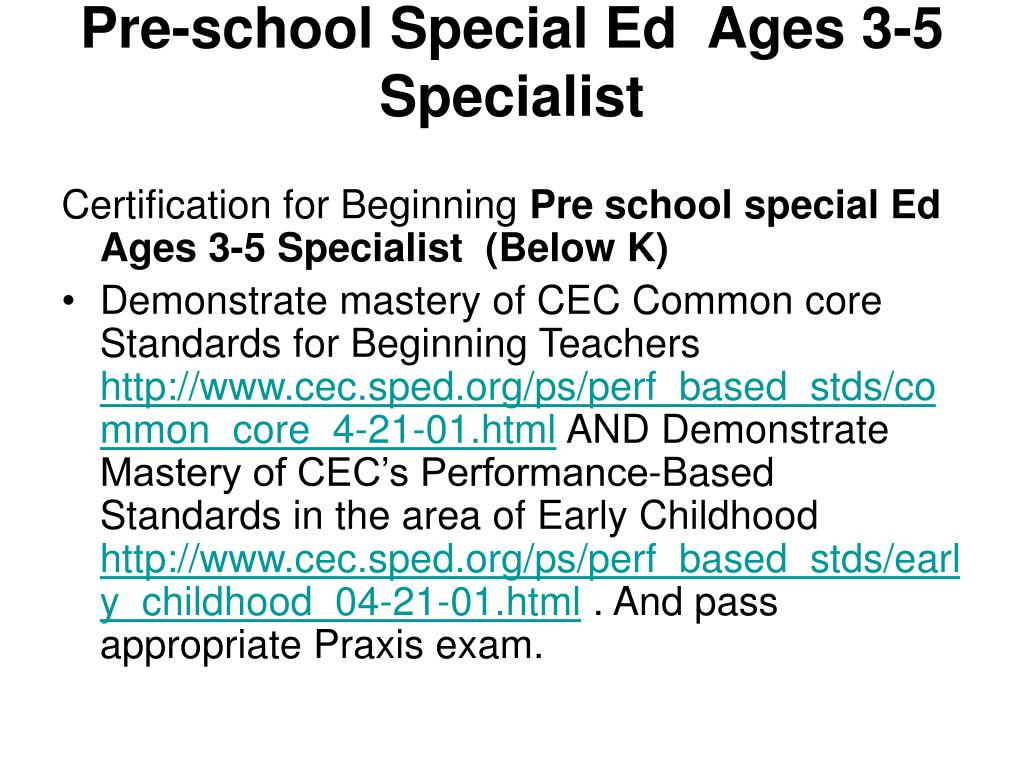 Pre-school Special Ed  Ages 3-5 Specialist