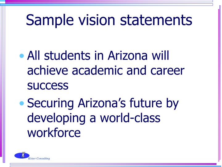 Sample vision statements