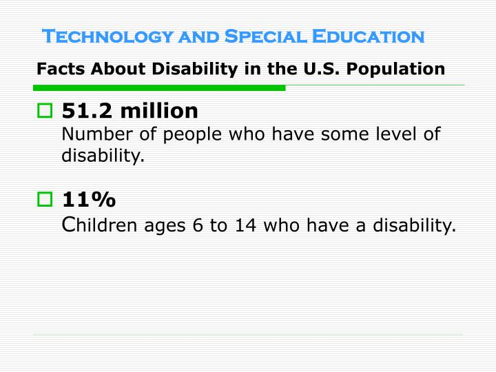 Facts about disability in the u s population