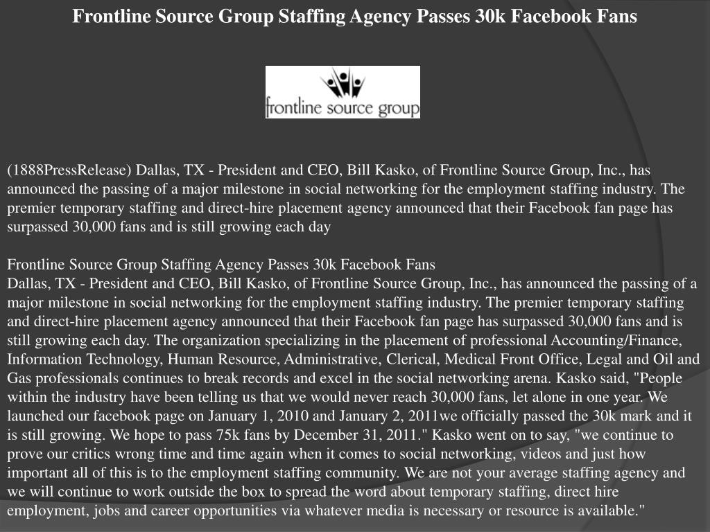 Frontline Source Group Staffing Agency Passes 30k Facebook Fans