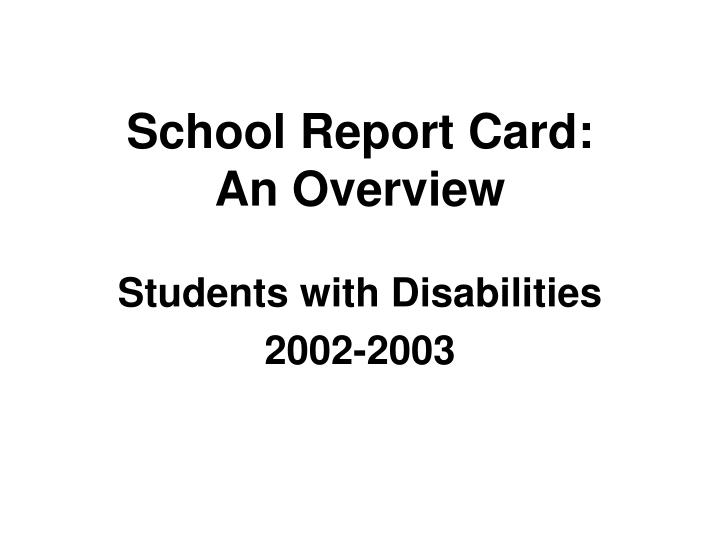 School report card an overview