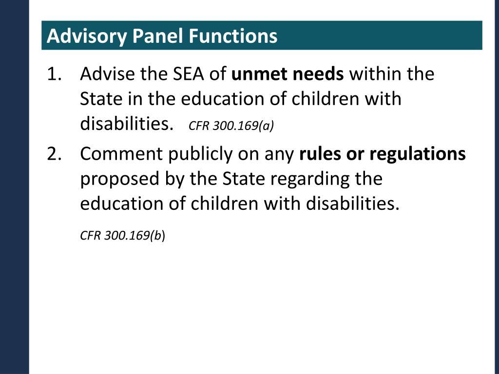 Advisory Panel Functions