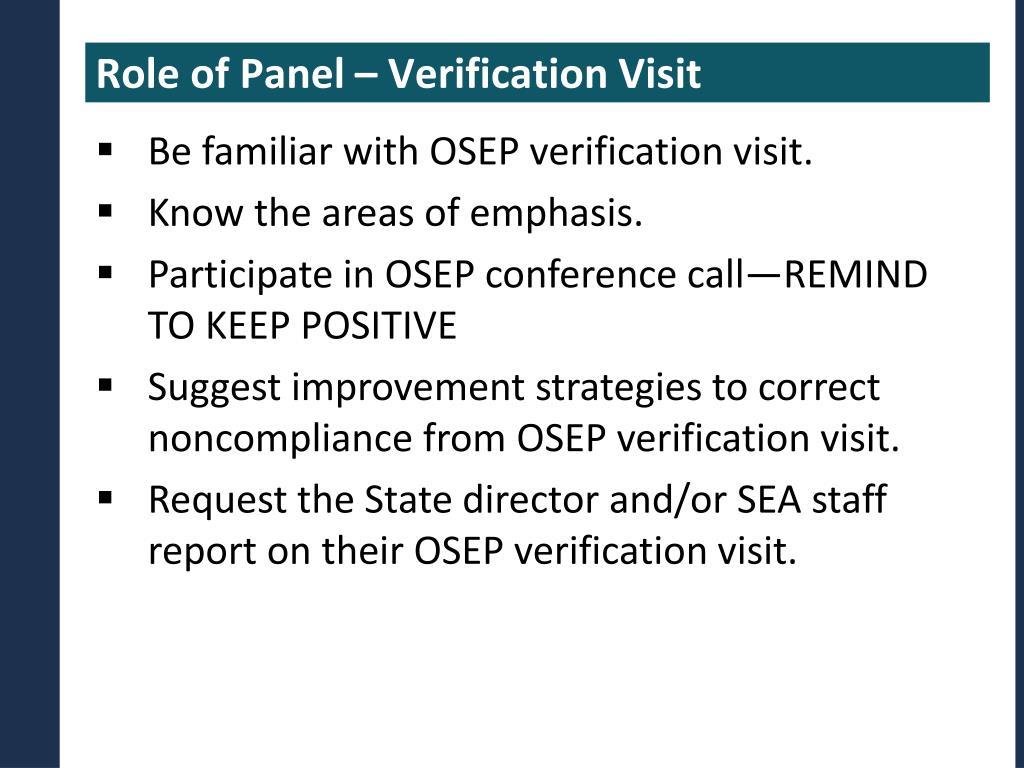 Role of Panel – Verification Visit