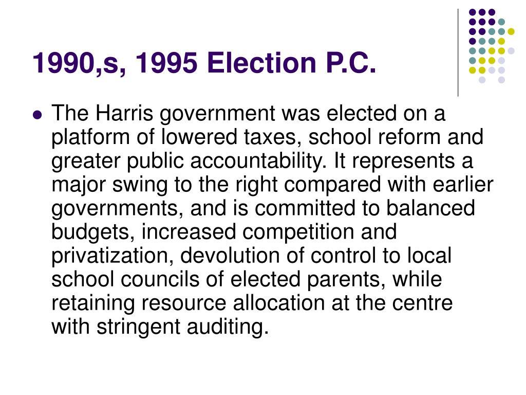 1990,s, 1995 Election P.C.
