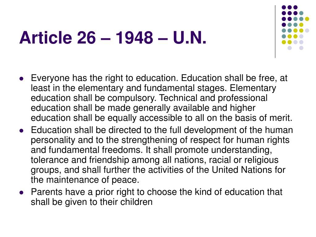 Article 26 – 1948 – U.N.
