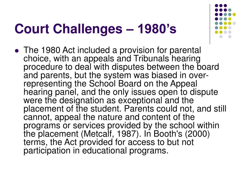 Court Challenges – 1980's