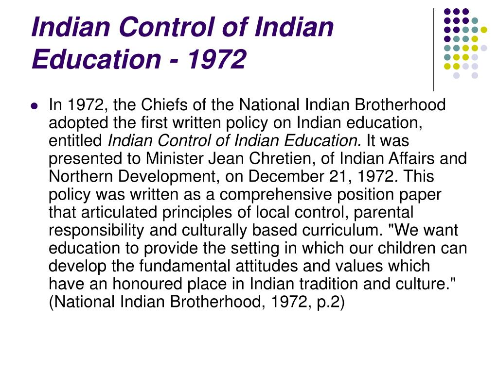 Indian Control of Indian Education - 1972
