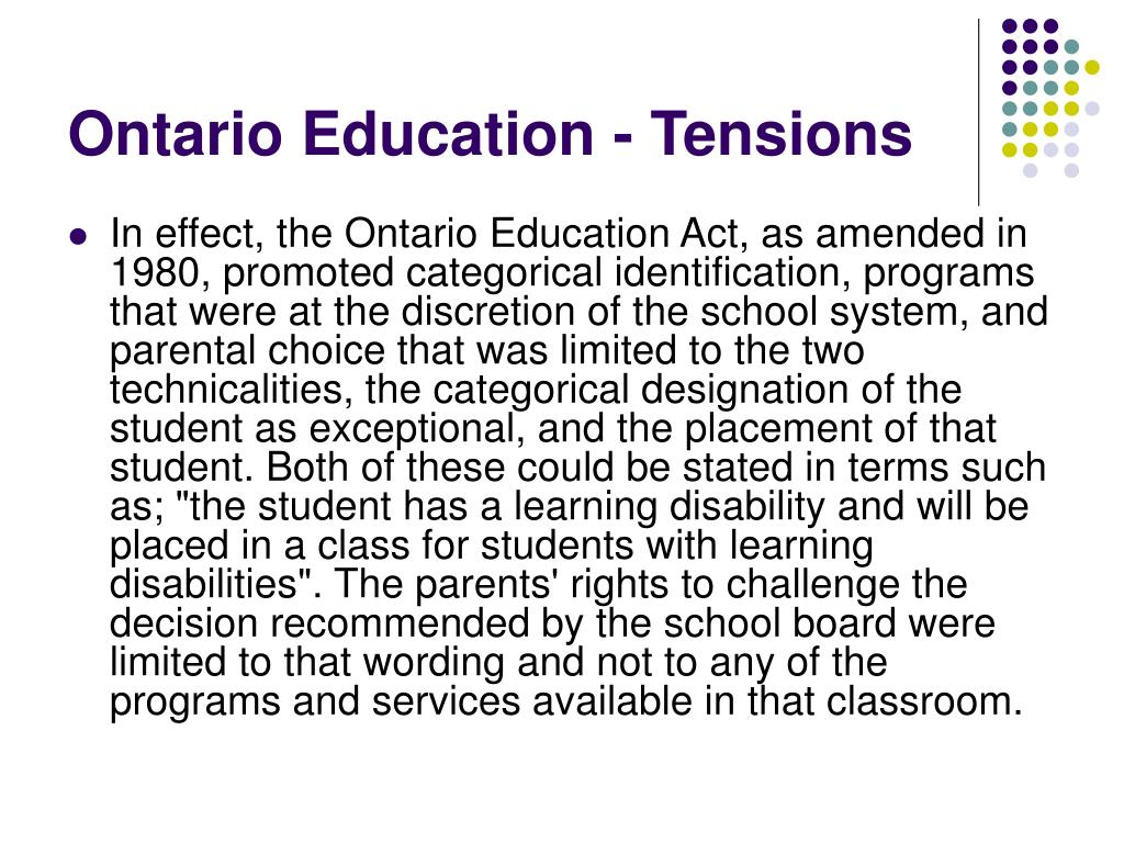 Ontario Education - Tensions