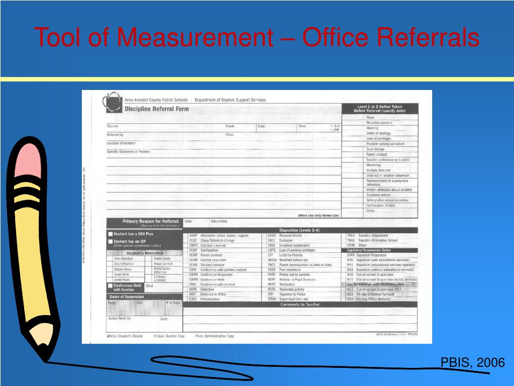 Tool of Measurement – Office Referrals