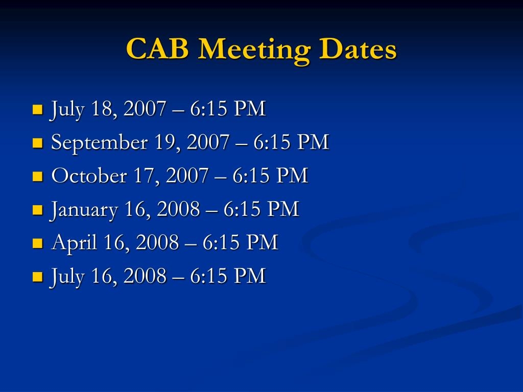 CAB Meeting Dates
