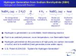 hydrogen generation from sodium borohydride sbh hydrogen on demand reaction