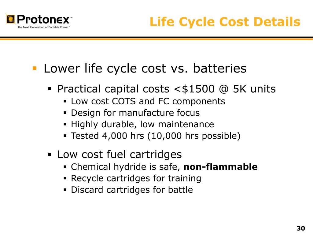 Life Cycle Cost Details
