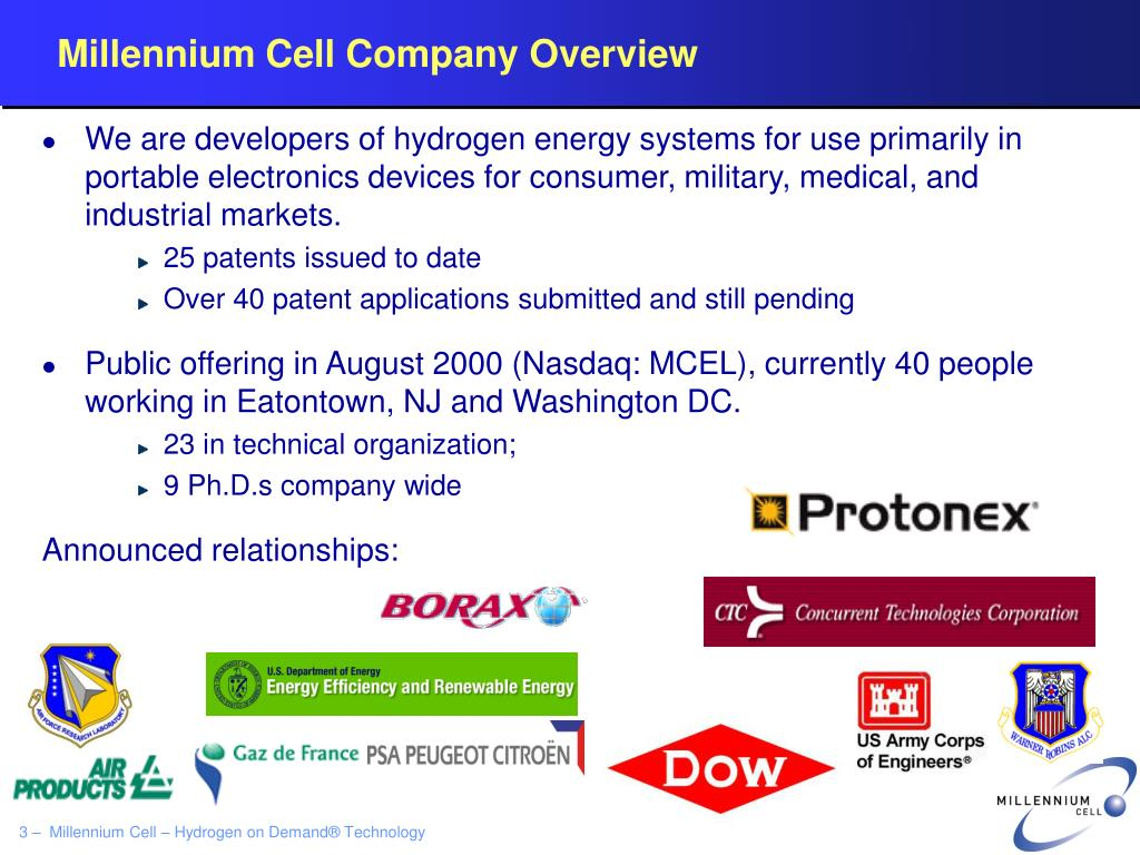 Millennium Cell Company Overview