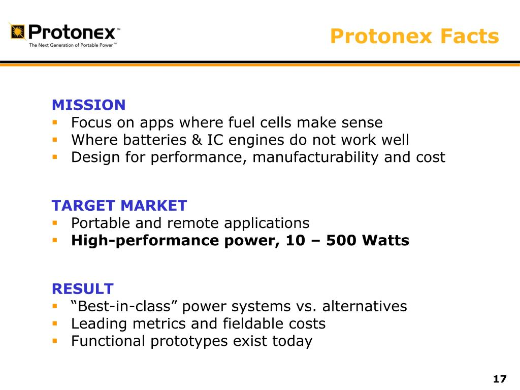 Protonex Facts
