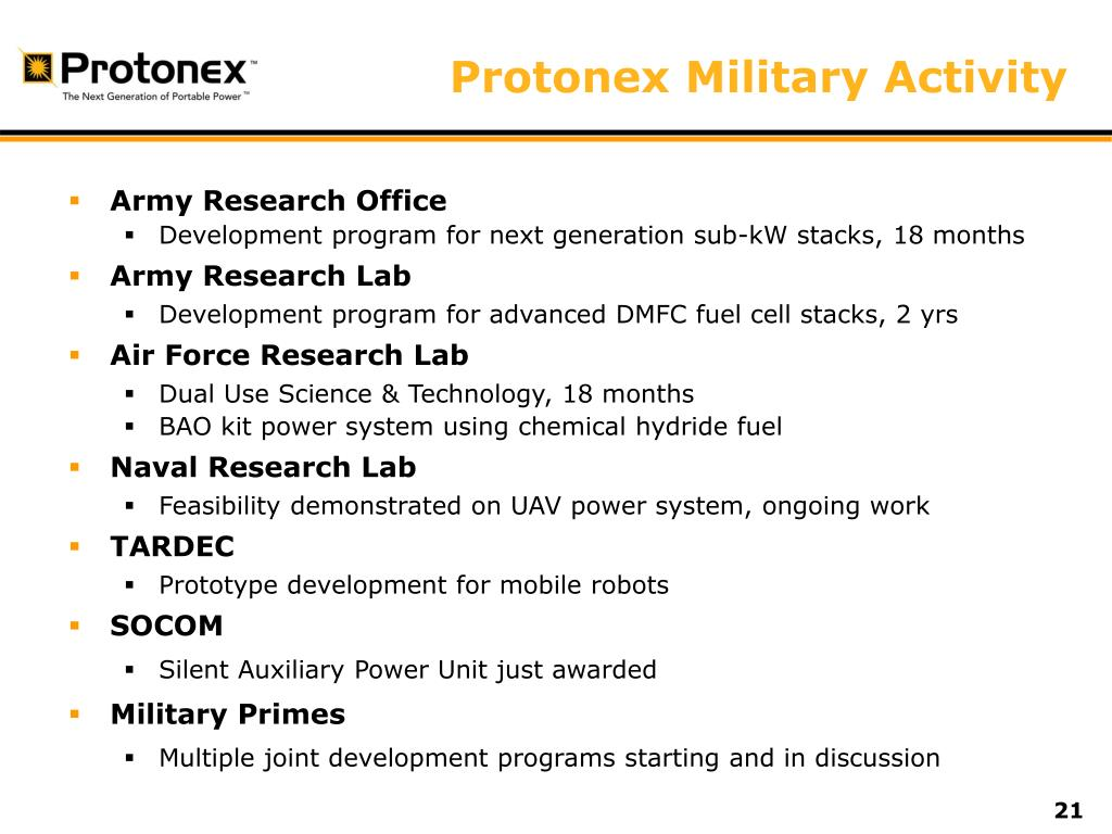 Protonex Military Activity