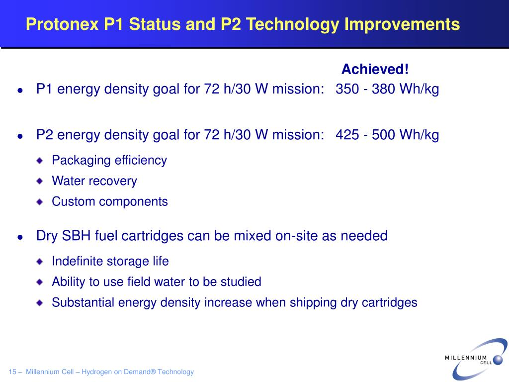 Protonex P1 Status and P2 Technology Improvements