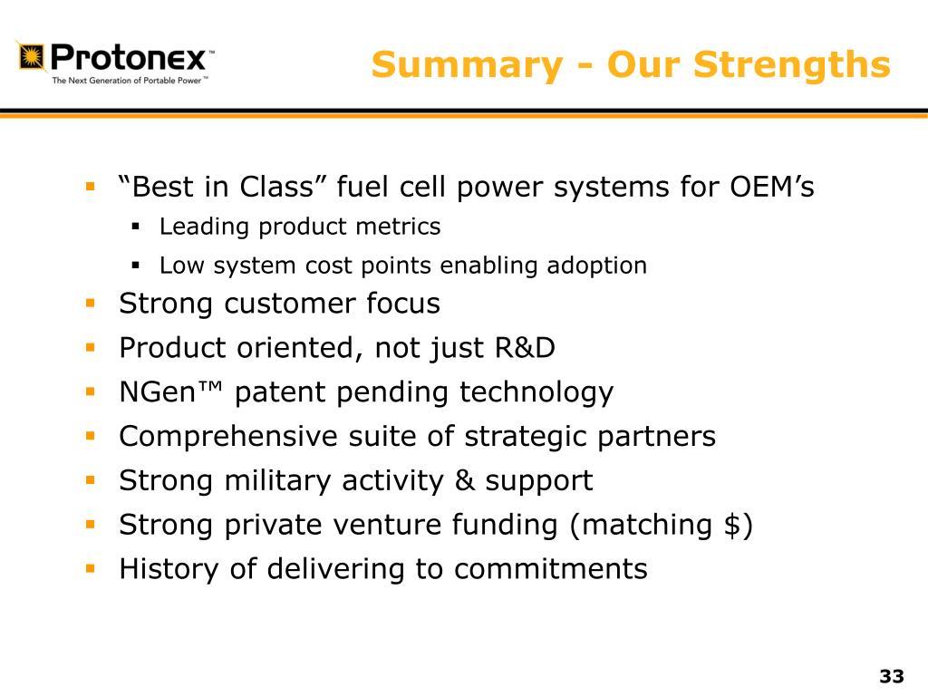 Summary - Our Strengths