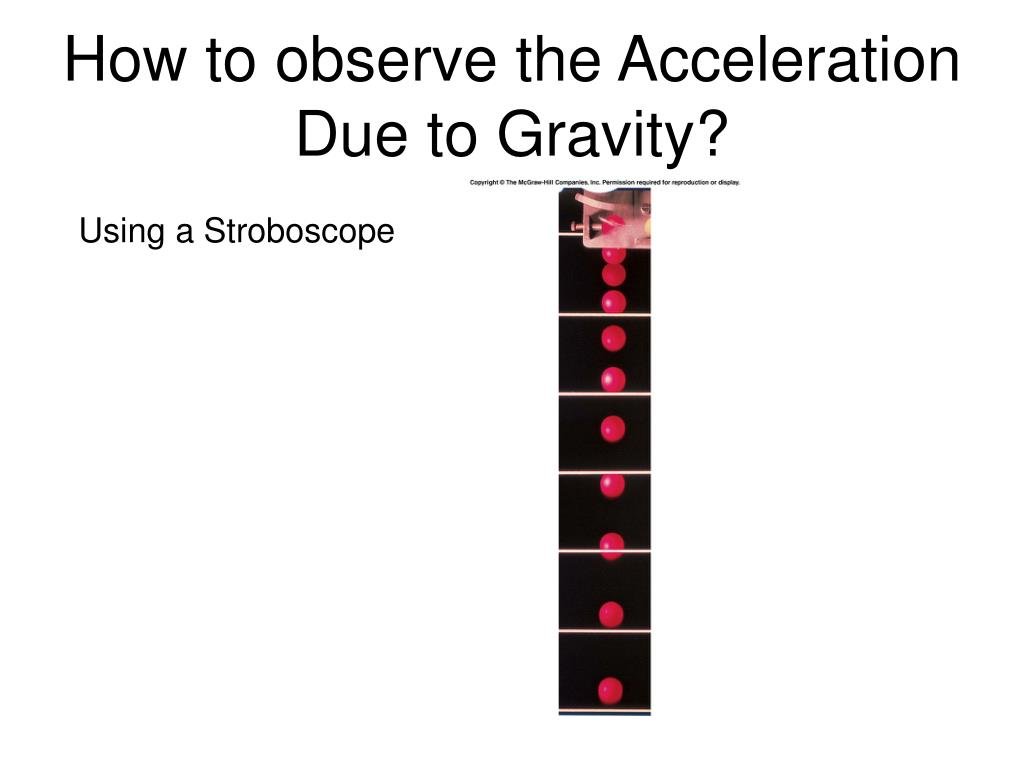 acceleration due to gravity 1 Nel kinematics 33 section 13 measuring the acceleration due to gravity various methods are used to measure the acceleration due to gravity experimentally for example, a stroboscope flashing at known time intervals records the position of an.