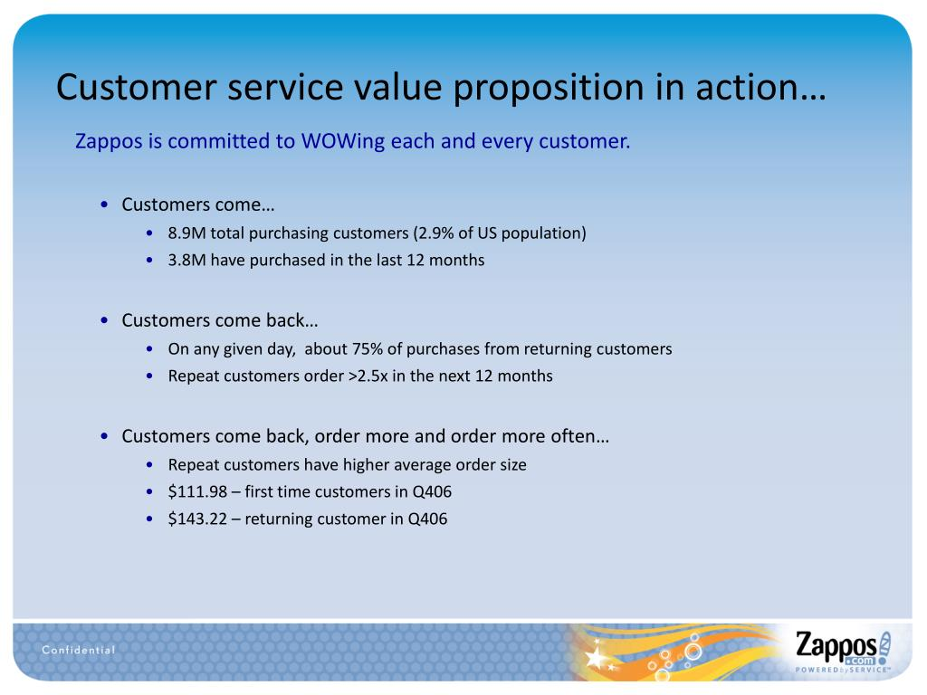 Customer service value proposition in action…