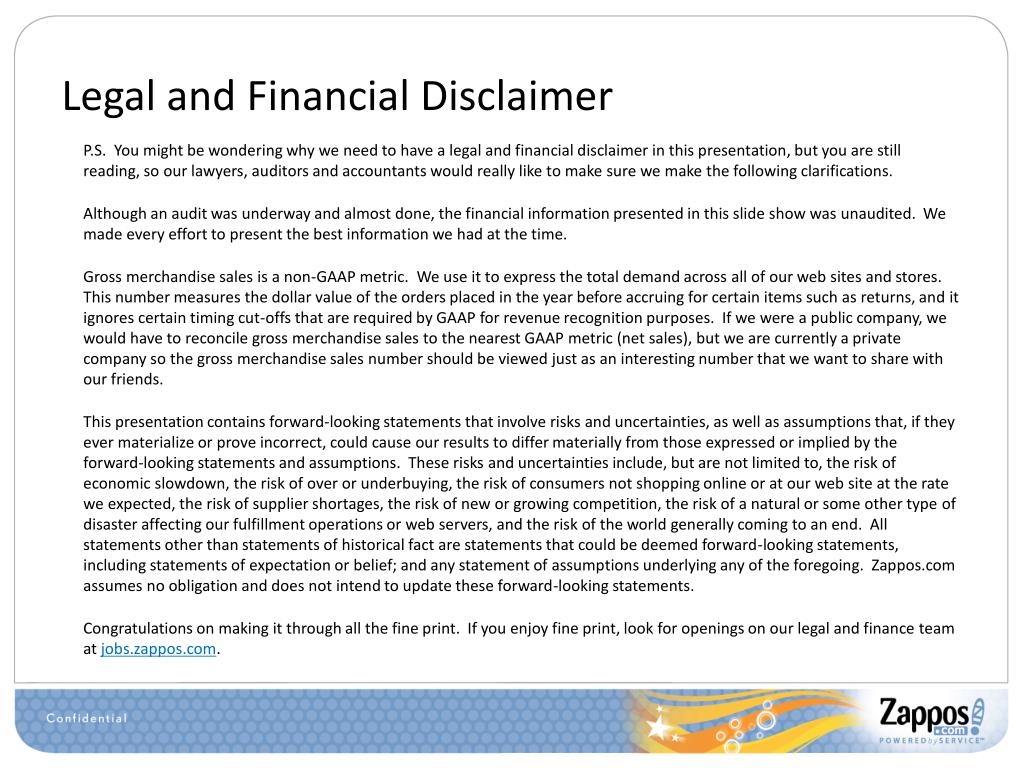 Legal and Financial Disclaimer