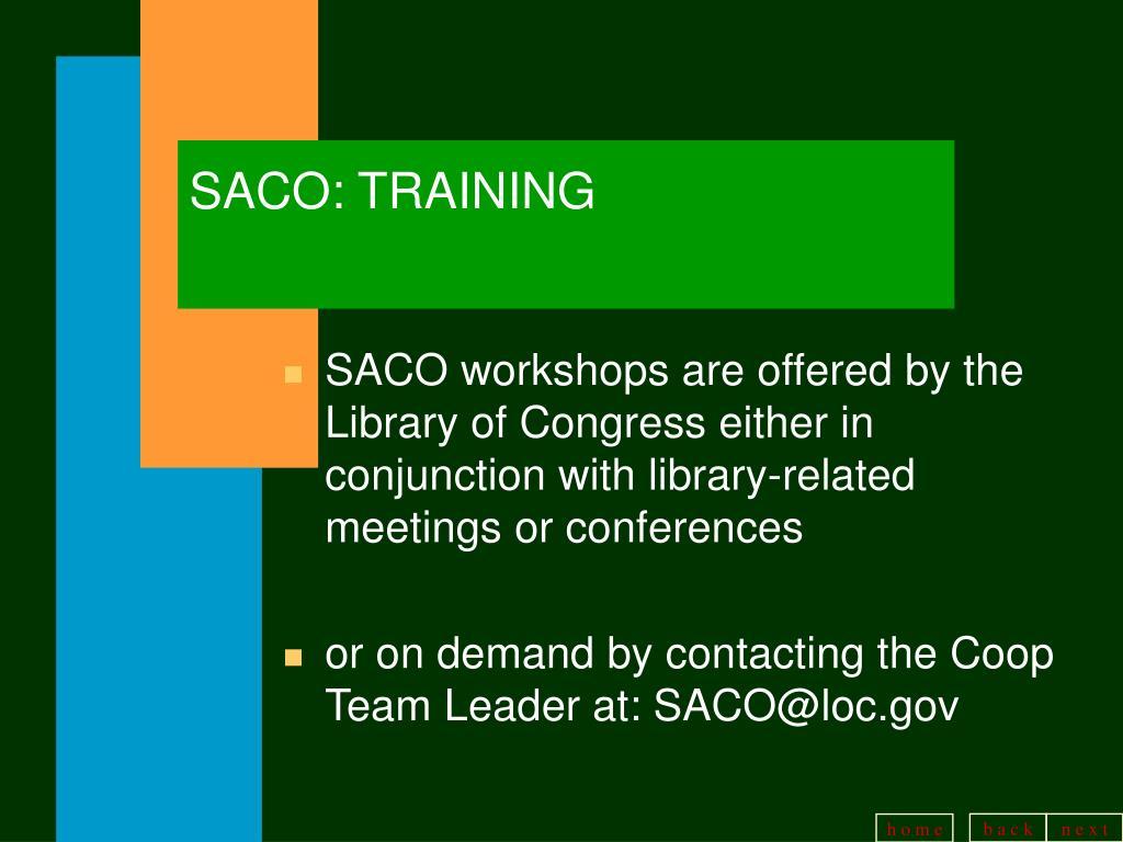 SACO: TRAINING