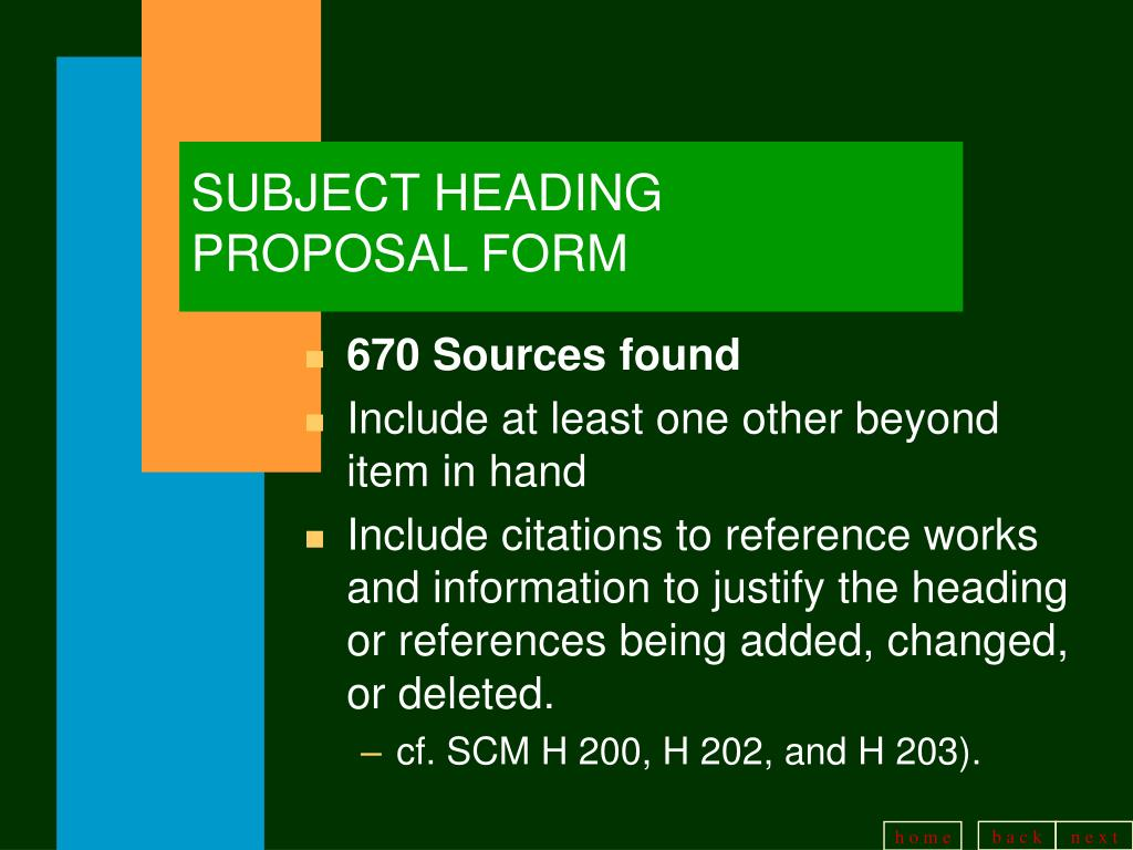 SUBJECT HEADING PROPOSAL FORM