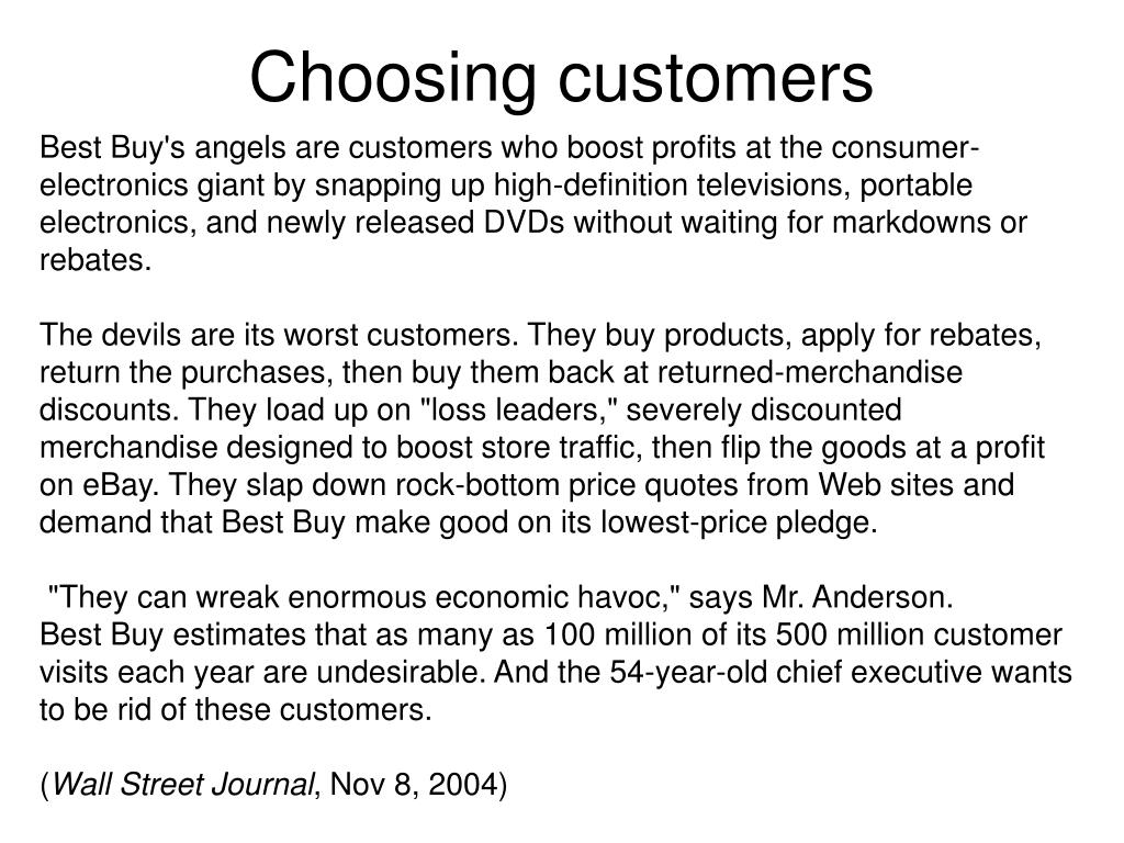 Choosing customers