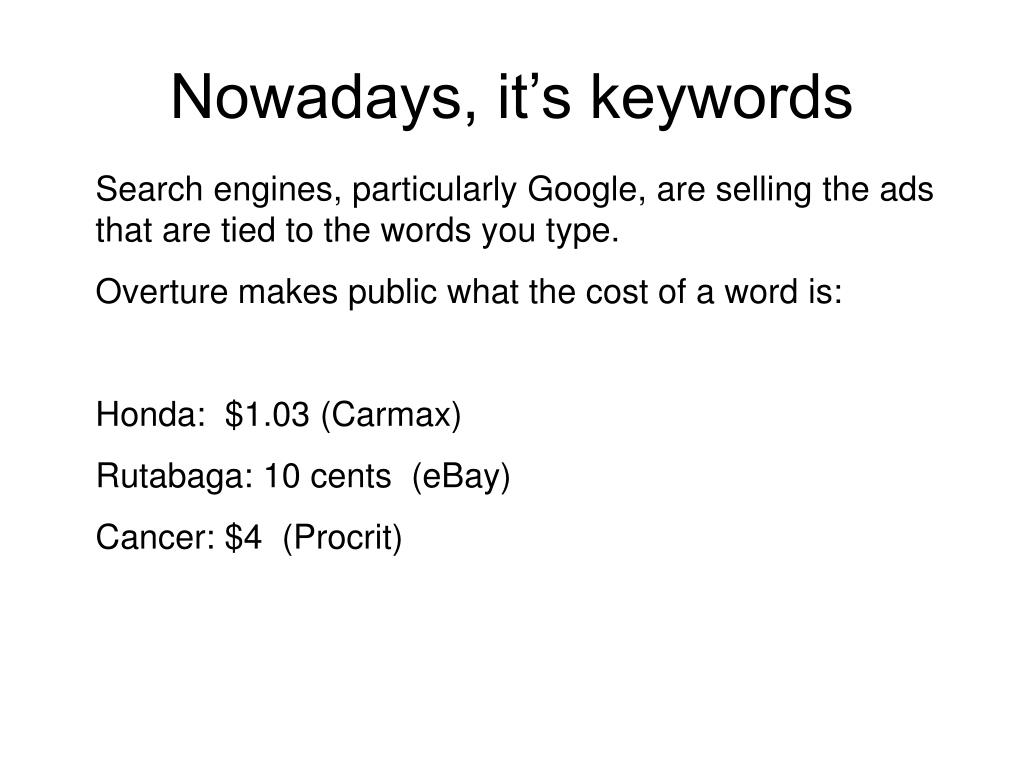 Nowadays, it's keywords