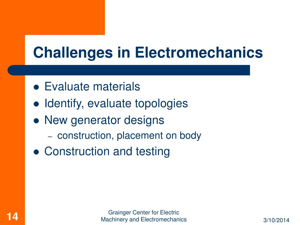 Challenges in Electromechanics