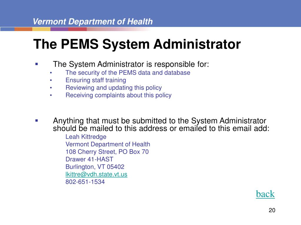 The PEMS System Administrator