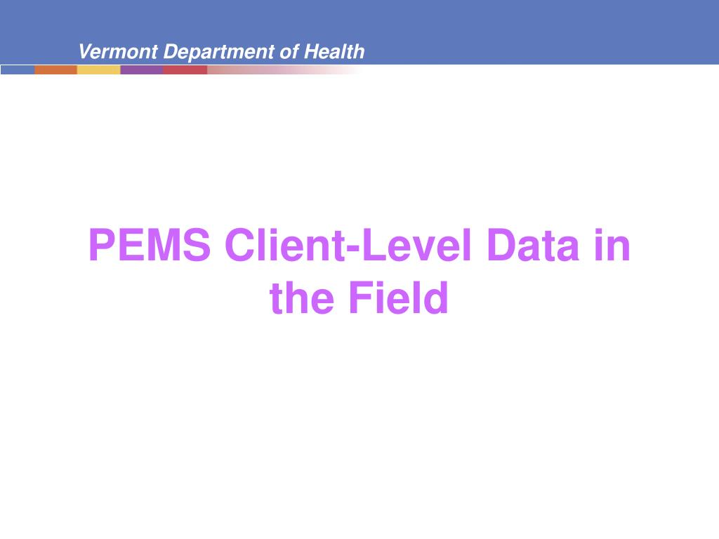 PEMS Client-Level Data in the Field