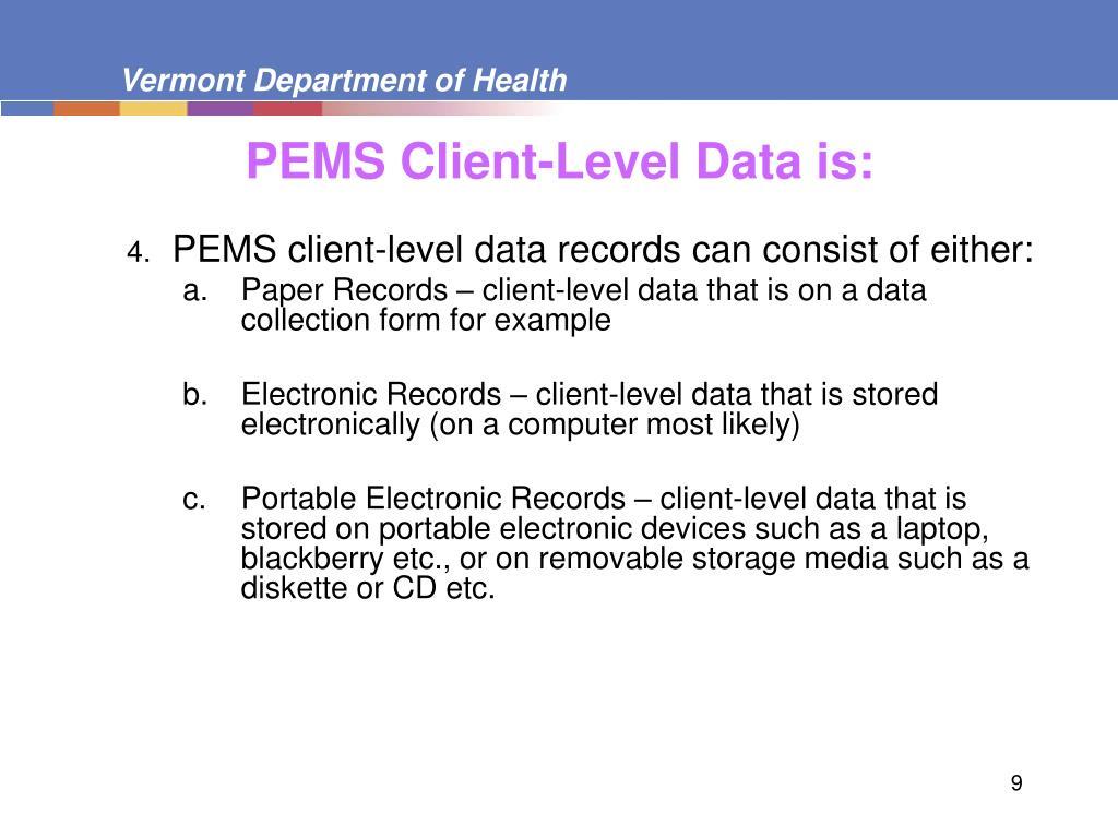 PEMS Client-Level Data
