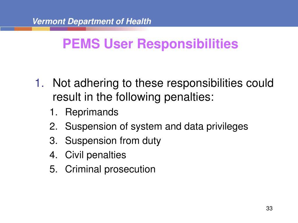 PEMS User Responsibilities