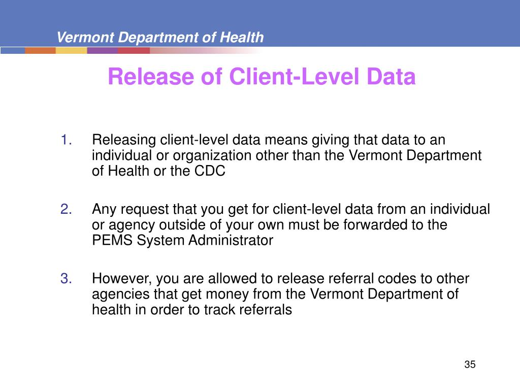 Release of Client-Level Data