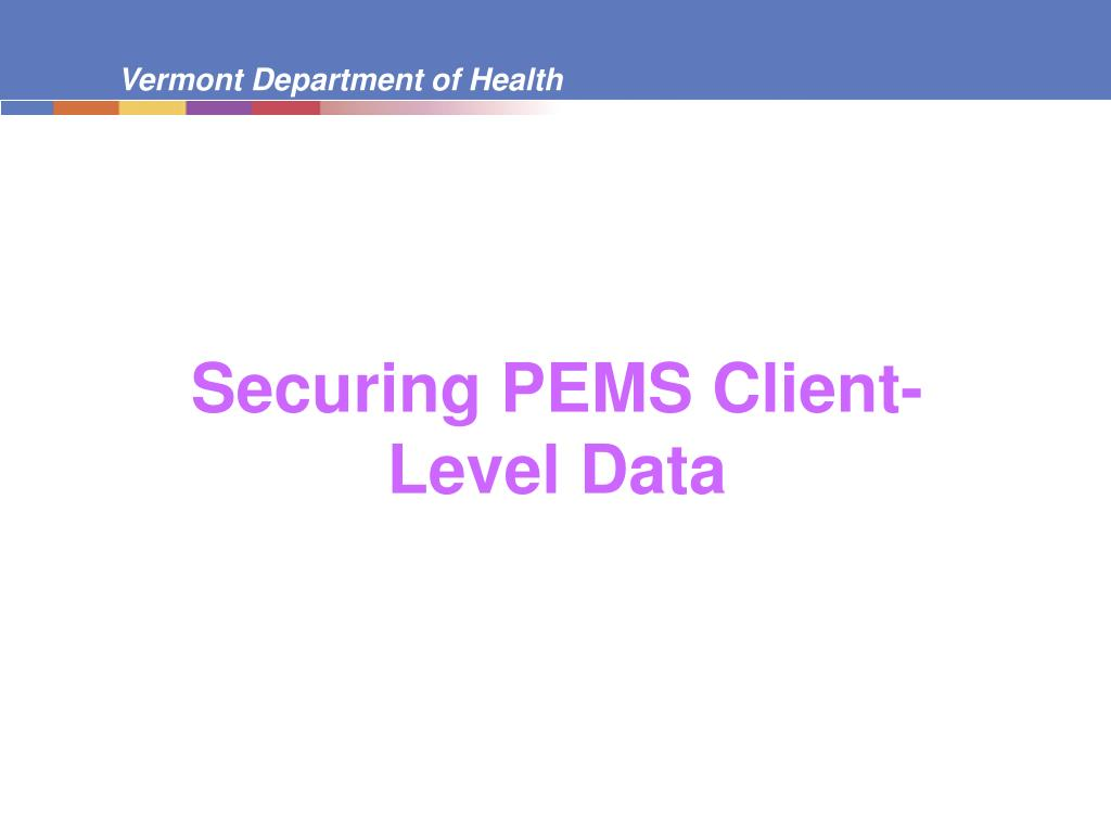 Securing PEMS Client-Level Data