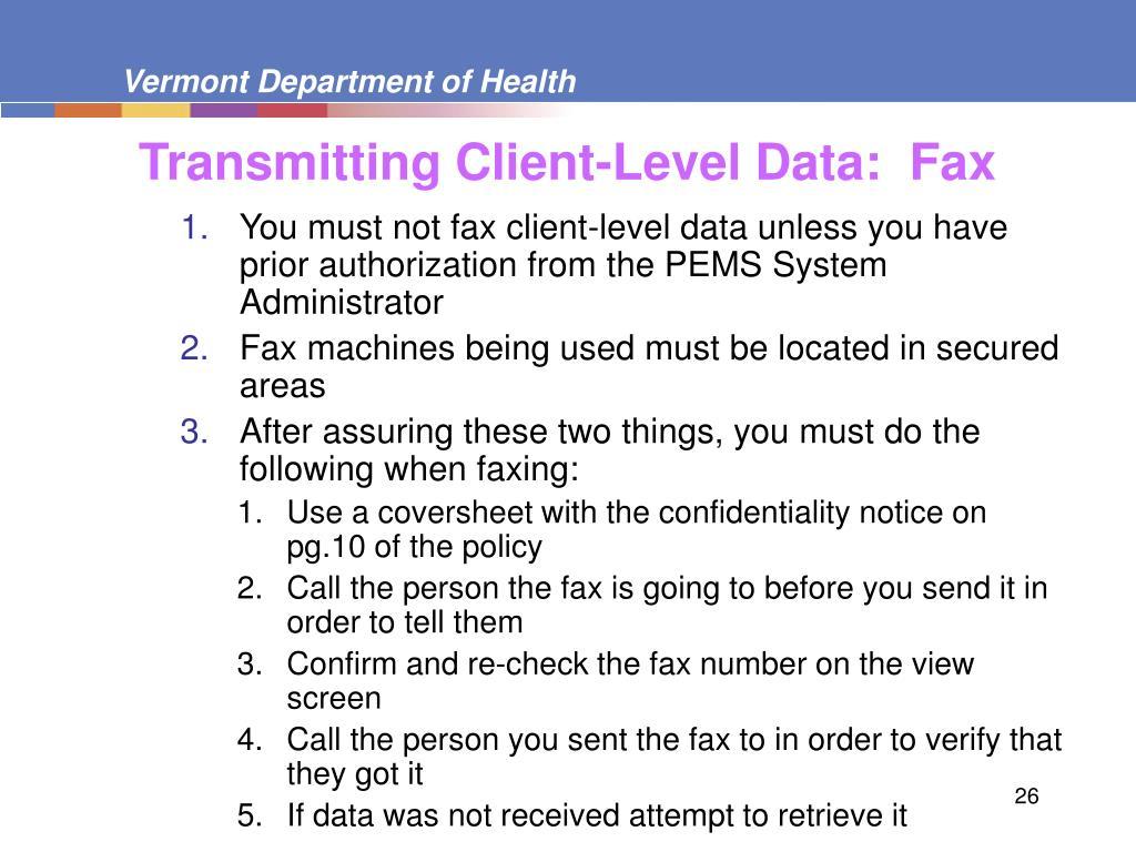 Transmitting Client-Level Data:  Fax