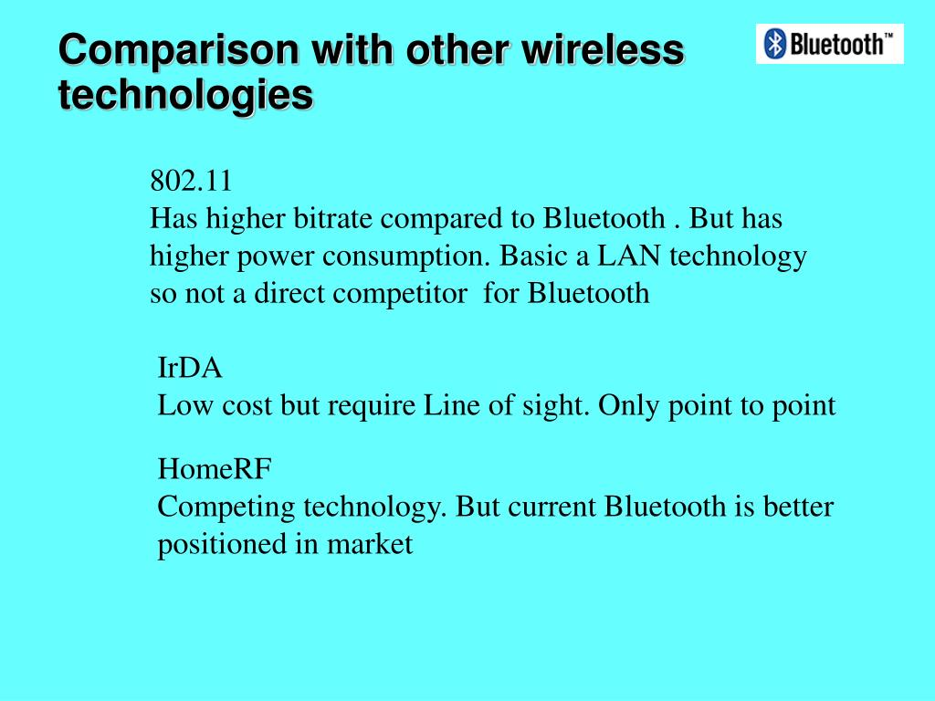 Comparison with other wireless technologies